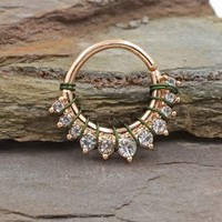 16 Gauge Crystal Half Circle Rose Gold Daith Hoop Ring Rook Hoop Cartilage Helix