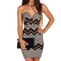 Sale-taupe Plunging Chevron Dress