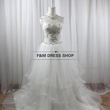 Vintage organza wedding dress  with bead work white ivory bridal dress custom dress