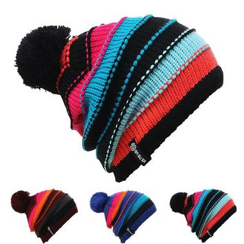 e2771b22af7 Unisex Men Women Skiing Hats Warm Winter Knitting Skating Skull Cap Hat  Beanies Turtleneck Caps Ski