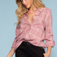 Farrah Plaid Top - Mauve