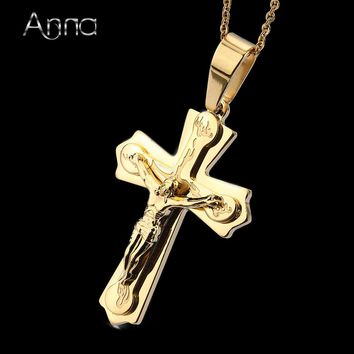 A&N Necklace and Pendant, Silver Gold Color Jewelry, Antique Cross Crucifix , Jesus Cross Pendant and Necklaces for Men and Women