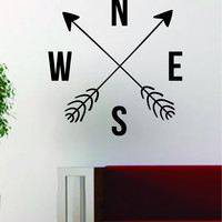 Arrows Compass Decal Sticker Wall Vinyl Art Decor Home Wanderlust Adventure Travel