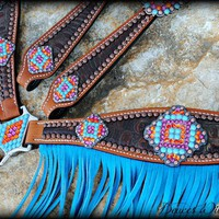 Aztec Concho Set with Pink & Orange Stones