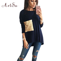 ArtSu New t-shirt Women Sequins Autumn Winter tshirt Loose Long Sleeve camisas femininas 2016 Tops Femme Tee Clothing ASTS50012