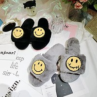 Cute Smiley Keep Warm Plush Home Slippers Women Lazy Flats Shoes
