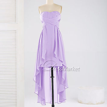 Sweetheart strapless Hi-Lo chiffon prom dress,Simple purple evening dress,,Hi-Lo purple bridesmaid dress,Summer dress,DressMarket010