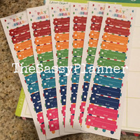 FREE SHIPPING D1 Monthly Bill Tracker Stickers for Erin Condren Life Planner Monthly View, Set of 6 Rainbow Polka Dot