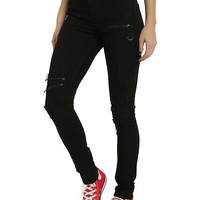 Blackheart Black Zipper D-Ring Super Skinny Jeans
