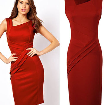 Red Sleeveless Bodycon Midi Pencil Dress