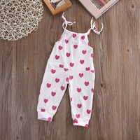 Newborn Baby Girl Infant Toddler playsuit Jumper Hearts Romper Jumpsuit Clothes