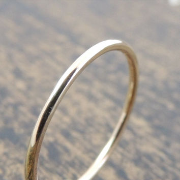 Solid Gold Wedding Ring. Skinny Wedding Band, Simple Bridal Accessory, Simple Rustic Ring, Yellow Gold Band, Engagement Ring, Ring for Him