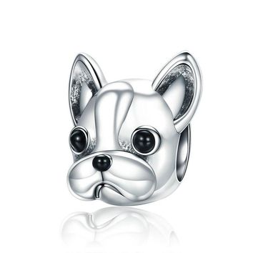 925 Sterling Silver Loyal Partners French BULLDOG Doggy Animal charms Beads fit Women Charm Bracelets Dog DIY Jewelry MEB315