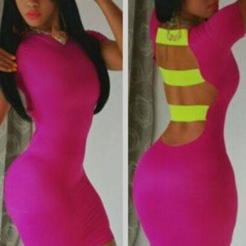 Hollow-out Back Sexy Rosy Bodycon Dress night club wear clubwear cut out blackless cheap bandage = 1945675524