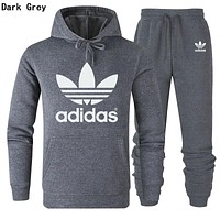 Adidas Popular Women Men Lover Top Sweater Pants Trousers Set Two-Piece Dark Grey