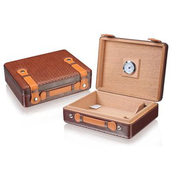 LUXFO Spanish Cedar Wood Travel Cigar Humidor with Hygrometer Humidifier for Cohiba Cigars