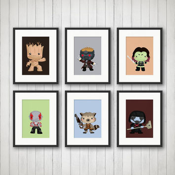 Superhero Prints, Galaxy Heroes, Playroom, Super Hero Nursery, Guardians Decor, 5x7 or 8x10 Prints, Boys Room Decor, Choose Colors, Size