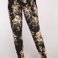 Floral Season Pants - Black Multi