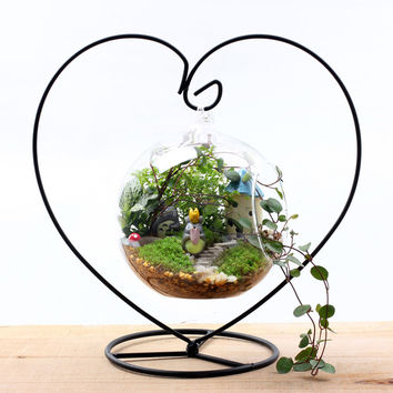 Heart Moon Hanging Stand Crystal Flower Vase Plant Holder Iron Stand Holder Wedding Desk Party Decor Without Glass Ball S3691