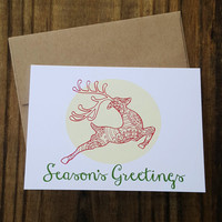 Christmas Card, Reindeer Card, Greeting Card