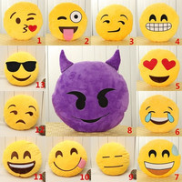 32cm Bed Home Office Car Emoji Smiley Smile Emoticon Yellow Round Cushion Pillow Stuffed Plush Doll Soft Toy = 1946515652
