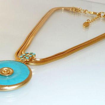 SALE OCEAN GODDESS necklace, blue turquoise necklace, framed gemstone, 24k gold platting ,turquoise statement necklace, december birthstone