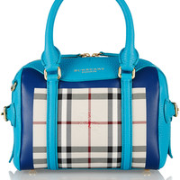 Burberry Prorsum - Little Bee checked coated-canvas and leather tote