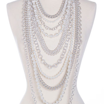 Eleanor Simulated Pearl and Chain Statement Necklace and Earrings Set