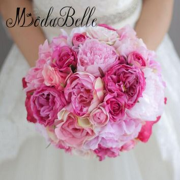 modabelle Vintage Rosa Peony Holding Flowers Bridal Bouquet Brides Hot Pink Wedding Bouquets Handmade Wedding Decorations