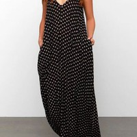 Bohemian Strappy Polka Dot Baggy Maxi Dress For Women