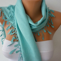 Women Pashmina  Scarf  - Cotton Scarf - Headband - Cowl with Lace  Edge - Ice Blue