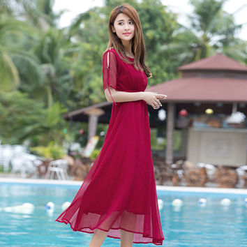 New Women's Casual Dresses Summer 2017 Fashion Solid Color Empire Waist O-neck Short-sleeve A-line Mid-calf Length Dress Female