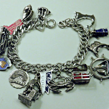 Vintage 40s 50s 60s Sterling Silver Charm Bracelet / New England Cape Cod Martha's Vineyard 15 Charms Signed 40g