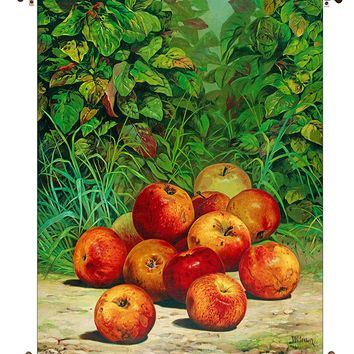 Apples Painting Picture on Canvas Hung on Copper Rod, Ready to Hang, Wall Art Décor