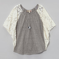 Gray Ivory Lace Cape Sleeve Top & Necklace | zulily