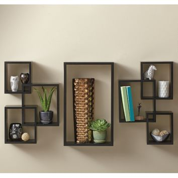 7-Piece Interlocking Wall Shelf Set in Cosmo Black