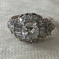 Vintage Engagement Ring 1.75 Carats in 14k White Gold Ring