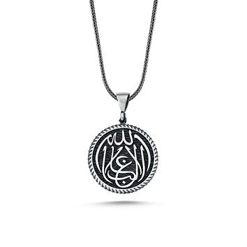 Calligraphy 'la galibe illallah' round pendant 925k sterling silver necklaces with chain