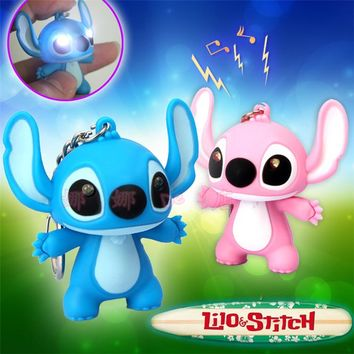 2017 New Lilo And Stitch Toys Cartoon Movie Stitch LED Keychains Lighting Sounds Novelty Toys Kids Creative Gifts