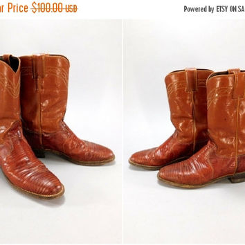 Vintage Justin Brown Iguana Lizard Skin Roper Cowboy Boots, Style 3113,  Size 7.5B, Low Boots, Fancy Stitched, Exotic Skin, Lightly Used