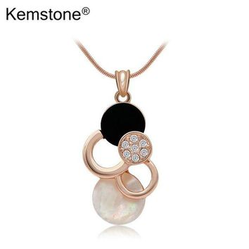ONETOW Awesome Opal Shell Pendant Necklace Gold-color Fancy Jewelry Accessories for Teen Girl Women,15'