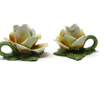 Vintage Pair of Rose Candle Sticks Taper Nuova Capodimonte Italy Crown Set of 2 / Mother's Day Gift Idea / Gift Idea for Her