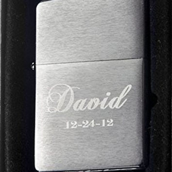 Groomsman Personalized Zippo Brush Silver Pocket Lighter Free Engraving