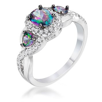 Delvani Mystic Fire Topaz Three Stone Criss-Cross Engagement Ring,Platinum