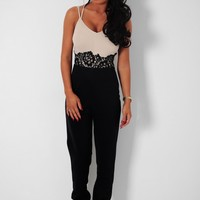 Infatuation Black & Nude Lace Panel Jumpsuit | Pink Boutique