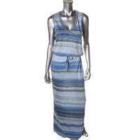 Calvin Klein Jeans Womens Striped Sleeveless Maxi Dress