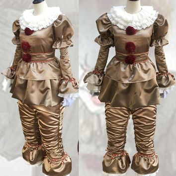 2017 pennywise the clown costume cosplay for women Terror Clown stephen king's it movie halloween costumes for men adult fancy