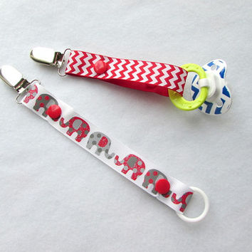 Pacifier Clip, Grosgrain Ribbon Binky Clip, Soothie Clip,  Red Elephant, Red Chevron