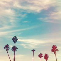 Los Angeles Palm Trees Light Leak Blue Clouds California Summer Wall Art iphone pink West Coast Living Beach Photography