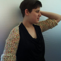Shrug sweater cream yarn with spots of color,  bolero shrug sweater, hand crochet, lace pattern super chic
